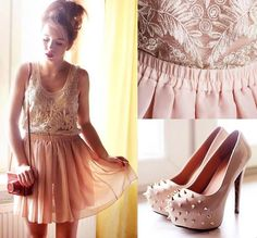Long Sleeve Crochet Lace Shirt &Soft Peach Chiffon Skater Skirt  http://www.chicnova.com/loose-fit-flower-lace-top-with-wide-round-neckline.html http://www.chicnova.com/vintage-pink-full-pleated-and-high-waist-chiffon-mini-skirt.html