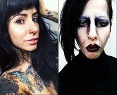 Transformation Marylin Manson Halloween Face Makeup, Hairstyle, Hair Job, Hair Style, Hairdos, Hair Styles, Updo, Style Hair, Hairstyles