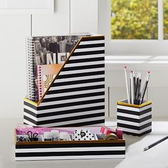 In love. Need now.  Printed Desk Accessories- Black/White Stripe With Gold Trim #pbteen