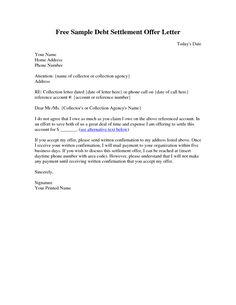 sample settlement letter debt settlement letter sample