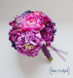 Purple Violet and Fuchsia Wedding Bouquet with Hydrangea, Peonies, and Roses. Purple Bouquet, Wedding Bouquet, Silk Bouquet by blueorchidcreations on Etsy