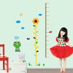 DIY de la Historieta Tabla de Crecimiento Etiqueta de La Pared de Acabado Envío Libre Girasol altura pies desde QT7149 del palillo pegatinas de pared(China (Mainland))