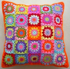 set of 2 tropical candy patchwork granny square by handmadebyria