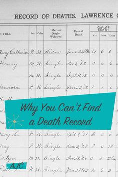 There are 5 common reasons you can't find a death record in your research. Here are those reasons, along with ways around them. Free Genealogy Sites, Genealogy Search, Family Genealogy, Birth Records, Family History, About Me Blog, Ancestry, Scrapbook Paper