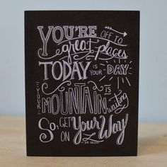Dr Suess Quote Card - Chalkboard Card - Chalk Art - You're Off to Great Places - Graduation Card - Inspiration - Encouragement