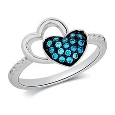 1/5 CT. T.W. Enhanced Blue and White Diamond Double Heart Ring in Sterling Silver
