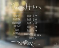 Walk-Ins Welcome Sign, Beauty Salon sign, Clothing Boutique Business Hours Sign, Business Signs, Opening Hours Sign, Window Decals, Vinyl Decals, Boutique Store Front, Store Front Windows, Salon Signs, Open Signs