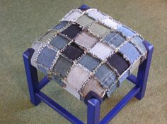 Old footstool, can of paint, recycled denim jeans = great makeover! Jean Crafts, Denim Crafts, Diy Jeans, Denim Furniture, Stools For Sale, Denim Ideas, Creation Couture, Recycled Denim, Rag Quilt