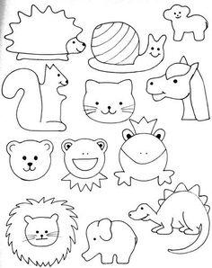 für die Puschen oder Taschen oder Kissen ;-)   Als erstes kommen die Tiere:       und dann die Fahr- und Fährzeuge :-)    jetzt die Gesichte...