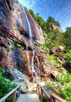 "Hickory Nut Falls at Chimney Rock State Park in North Carolina. The Falls were famously featured in the Great Movie, ""Last Of The Mohicans"""
