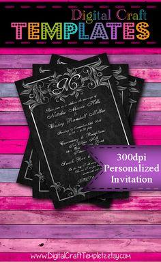 Personalized Printable Invitations   Black Elegance   Monogram    Invitation   Wedding    #269