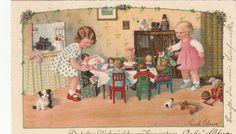 AK Kinder Kleine Mädchen bewirten Puppen und Teddy + Pauli Ebner Litho | eBay