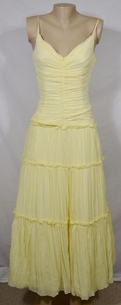 JESSICA MCCLINTOCK FROM GUNNE SAX Yellow Tiered Spaghetti Strap Dress Gown 5/6 #JessicaMcClintock #BallGown #Formal
