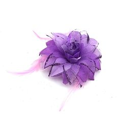 Bridal Wedding Hair Veil Decor Feather Flower Clip Bridesmaid Brooch CathedralPurple ** Check out the image by visiting the link.(This is an Amazon affiliate link and I receive a commission for the sales)