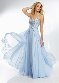 Fabulous prom dress with a chiffon fly away skirt, by Mori Lee