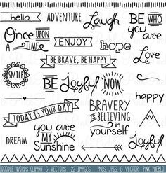 Doodle Words Clipart Clip Art, Typography Word Subway Art Clip Art Clipart Vectors - Commercial and Personal Use - Ideas In Crafting Doodle Inspiration, Bullet Journal Inspiration, Doodle Ideas, Journal Ideas, The Words, Doodle Lettering, Doodle Art Letters, Calligraphy Doodles, Doodle Fonts