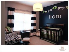 LOVE the statement blue wall. navy and green nursery - Google Search