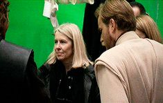Once again we see the awesome friendship of Ewan McGregor and Hayden Christensen behind-the-scenes of Revenge of the Sith. They're admiring eachothers costumes and messing around haha they're like little kids and that great friendly chemistry was well reflected in the movies because they worked great together Natalie Portman included (probably why Hayden and Natalie made the perfect movie couple totally shipped them in real life too). Gosh I really hope they all still talk