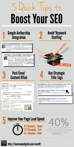 5 Quick Tips to Boost Your SEO Infographic