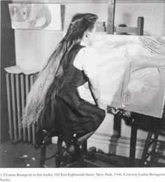 Louise Bourgeois in her studio, 142 East Eighteenth Street, New York, 1946