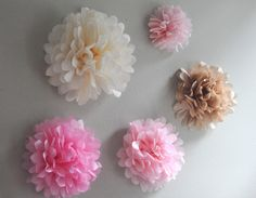 5 Tissue Paper Wall Flowers- pick your colors. $20.00, via Etsy.