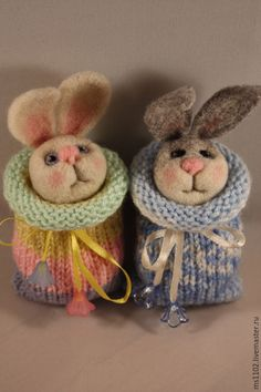 Купить МАЛЫШИ - разноцветный, зайцы, кошечка, пара зайцев, подарок, авторская ручная работа