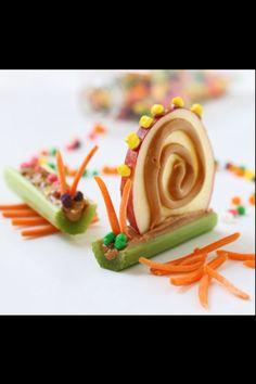 Snail and Caterpillar Apple, Banana, Celery, Carrot and Peanut Butter