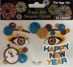 Rhinestone & Glitter New Year's Eve Face Art Kit. Simply peel and stick each piece of the design over your accent make-up (eye shadow, blush, etc.) to apply! 6 different designs to choose from! Brown Clocks, Rhinestone Makeup, Crystal Tattoo, New Years Eve Party, Face Art, Eye Shadow, Blue Brown, Gold Glitter, Happy New Year