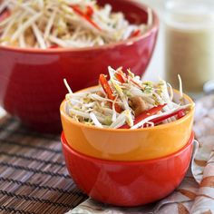 tangy cashew sesame bean sprout salad