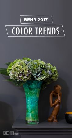 If you're looking for a fresh way to makeover your home, a charcoal gray wall color will add glamour to your space and let your bold colored decor stand out. We love this use of Shades On alongside a bright teal vase and and an eclectic mix of accent pieces. For more sophisticated looks and this season's hottest hues, check out BEHR's new 2017 Color Trends.