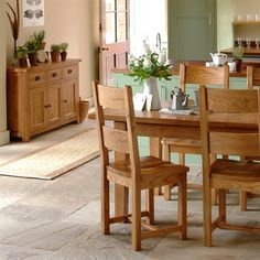 Cottage Oak Dining Set, Stone floors, Country Dining, flowers, herbs, bird print, kitchen diner, Country inspired living, The Cotswold Company