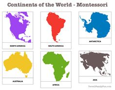 continents of the world, montessori printable