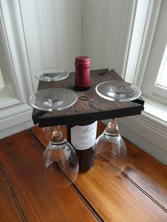 Reclaimed wood wine bottle caddy (wine glass tray, holder) holds up to 4 glasses on Etsy, $20.33