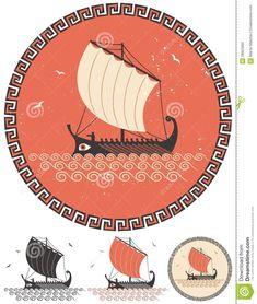 Nave greca illustrazione vettoriale. Illustrazione di greco - 28923995