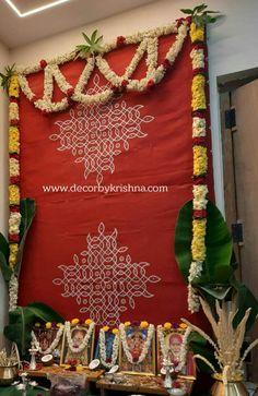 Background Decoration, Backdrop Decorations, Baby Shower Decorations, Flower Decorations, Backdrops, Wedding Decorations, Rangoli Designs With Dots, Kolam Designs, Ganesh Chaturthi Decoration