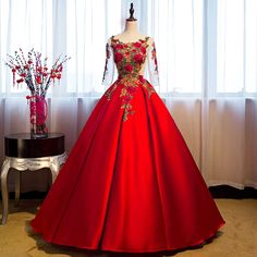 Red Floor Length Satin Wedding Gown Featuring Floral Embroidered Scoop Neck Bodice with Sheer Sleeves and Lace-Up Open Back