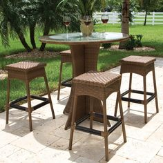 Hospitality Rattan Grenada 5 Piece Pub Set - Seats 4 - Viro Fiber Antique Brown with Tempered Glass - Outdoor Dining Table Sets at Dining Tables