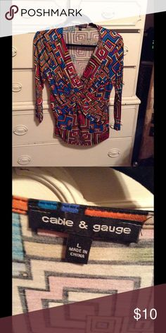 Cable & Gauge 3/4 sleeve top size L Nice striking colors!  Bundle & save! Cable & Gauge Tops