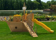 Let your children envision new worlds and escapades with the Salty Breeze Playset. They can use the Ship's Wheel to guide the Yacht out of the harbor. When out on open water they can imagine the salty breezes as they whoosh down the 10' Scoop Wave Slide. A dash up the Gang Plank and they can be back on deck around the Child's Round Table and Chairs choosing their course or engaging in a game while the world laps by. View pricing at Ulrich Barns Website!