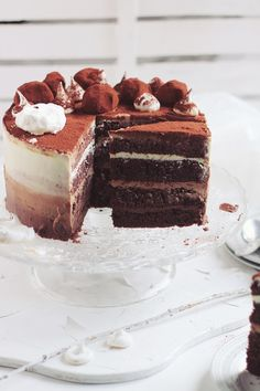 Tort cu trei tipuri de ciocolata si ganache/ Triple chocolate ombre cake | Pasiune pentru bucatarie