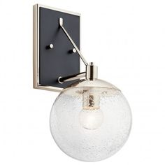 A round seeded glass shade adorns a gleaming polished nickel finish frame, enhancing the gorgeous glow of this steel wall sconce. 15 high x 7 wide. Extends 9 from the wall. Backplate is high x 5 wide. Style # at Lamps Plus. Barn Lighting, Wall Sconce Lighting, Home Lighting, Modern Lighting, Luminaire Mural, Bronze Wall Sconce, Transitional Wall Sconces, Polished Nickel, Decoration