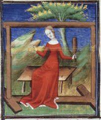 Image of card weaving from a festal missal of Savoy, ca. 1460 (The Hague, Koninklijke Bibliotheek, KB 128 D 30).
