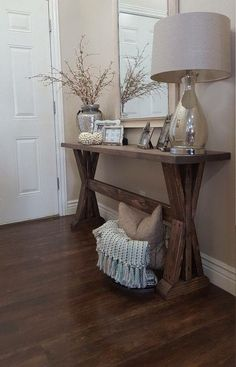 Inspiring Entryway Console Tables Ideas 33 - Home Interior and Design Entryway Console Table, Rustic Entryway, Rustic Hallway Table, Hallway Tables, Skinny Console Table, Rustic Buffet, Console Table Styling, Rustic Console Tables, Buffet Console