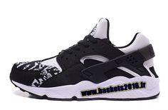 Nike Air Huarache Run Knit Chaussures de Running Pas Cher Pour Homme Noir - Blanc