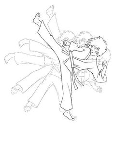 Karate Kid Shadow Kick Coloring Page