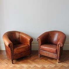 Pair of Leather Club Tub Chairs