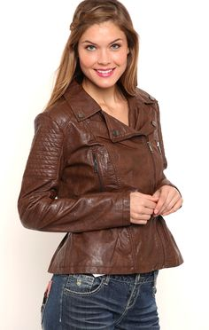Deb Shops Faux Leather Peplum Jacket with Quilted Details $22.50