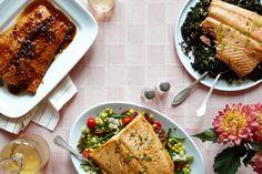 Salmon Three Ways by Pemille Pedersen, wsj: Whiskey-Marinated, Salmon with Beluga Lentil Salad or Salmon with Bacon And Oyster Succotash #Salmon #Pemille_Pedersen #wsj