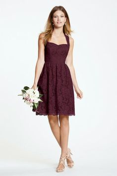 Watters Maids Dress Sisley Style 5228 | Watters.com Wine lace, cognac lining