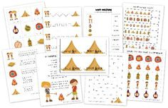 Camping preschool and kindergarten printables from http://homeschoolcreations.com